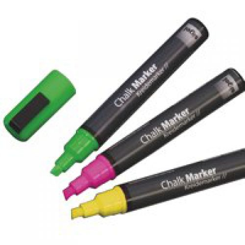 Sigel Chalk Marker50 chisel 1-5mm Pink/Green/Yellow PK3