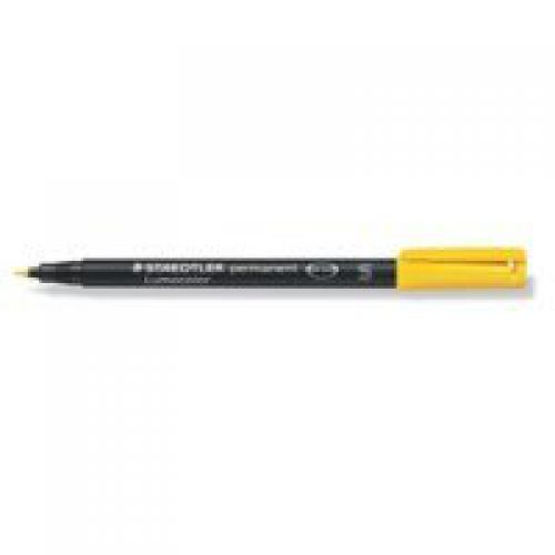 Staedtler Lumocolor 318 Permanent Pen Fine 0.6mm Yellow PK10
