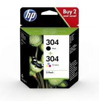 HP 3JB05AE 304 Black Tricolour Ink 4ml 2ml Twinpack