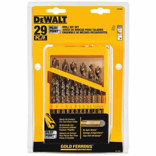 DeWalt DW1969 29-Piece Pilot Point and Drill Bit Set w// No-Spin Shank New