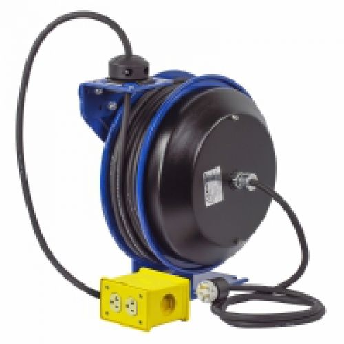 COXREELS PC13 Series Power Cord Reels, 12/3 AWG, 20 A, 50 ft, Single Industrial Plug