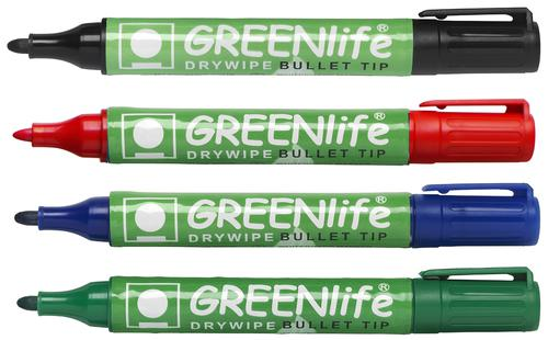 Greenlife Recycled Dry Wipe Marker Bullet Tip Assorted 8210WT4 [Wallet 4]
