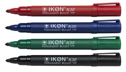 Langstane Ikon K30 Permanent Bullet Tip Marker Assorted K30-WLT4 [Wallet 4]