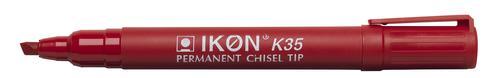 Langstane Ikon K35 Permanent Chisel Tip Marker Red K35-02 [Box 10]