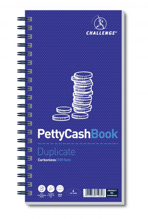 Challenge Petty Cash Book 200 Duplicate Slips 280x141mm 100080052