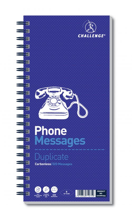 Challenge Telephone Message Book Wirebound Carbonless 320 Messages 305x141mm Ref 100080054