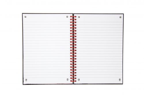 Black n Red A5 Wirebound Polypropylene Cover Notebook Ruled 140 Pages Black/Red (Pack 5)