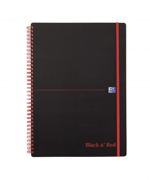 Black n Red A4 Wirebound Polypropylene Cover Notebook Ruled 140 Pages Black/Red (Pack 5)