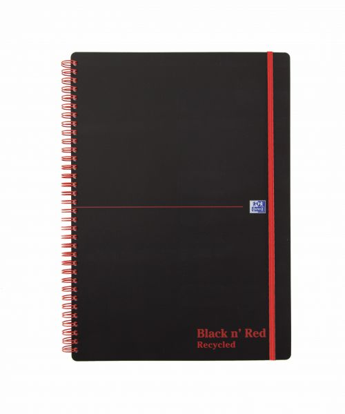 Black n' Red Recycled Polypropylene Wirebound Notebook 140 Pages A4 (Pack of 5) 846350973