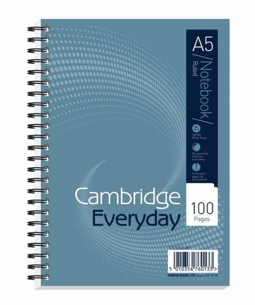 Cambridge Everyday Nbk Wirebound 70gsm Ruled Perforated Punched 2 Holes 100pp A5 Ref 100080190 [Pack 10]
