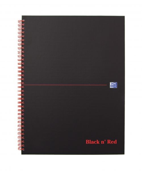 Black n Red Wirebound Hardback Notebook A4 140 page Matt Black PK5