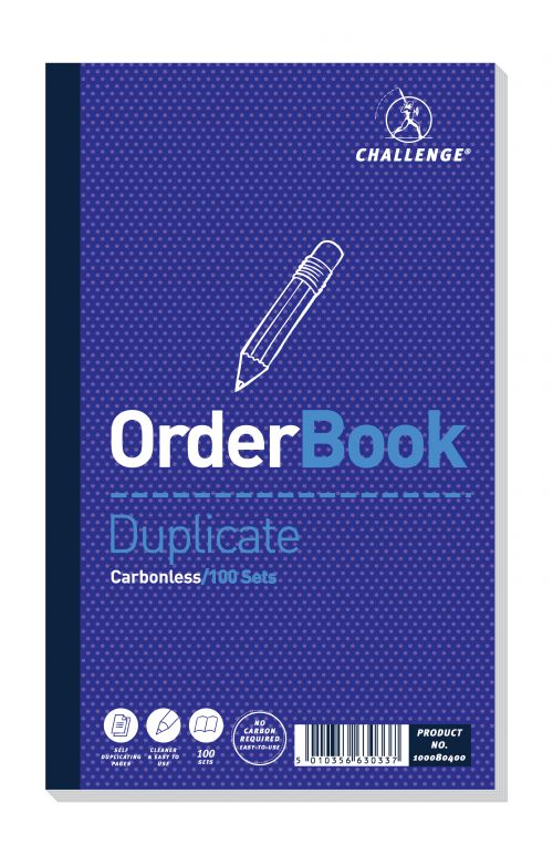 Challenge Carbonless Duplicate Order Book 100 Sets 210x130mm (Pack of 5) 100080400