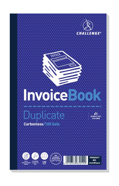 Challenge Duplicate Book Carbonless Invoice Single VAT/Tax 100 Sets 210x130mm Ref 100080412 [Pack 5]