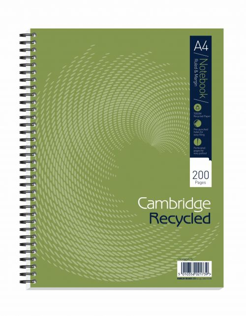 Cambridge Recycled Ruled Wirebound Notebook 200 Pages A4+ (Pack of 3) 100080423