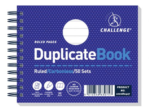 Challenge Duplicate Book Carbonless Wirebound Ruled 50 Sets 105x130mm Ref 100080427 [Pack 5]