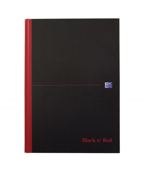 Black n Red Casebound Notebook Narrow Ruled with Margin 90gsm A4 96 pages 100080428 [Pack 1]