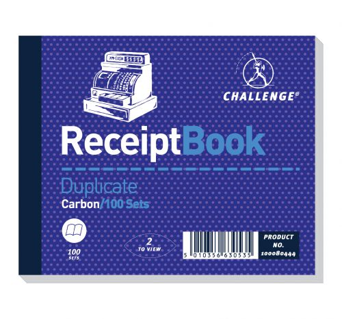 Challenge Duplicate Book Carbon Receipt Book 2 Sets per Page 100 Sets 105x130mm Ref 100080444 [Pack 5]