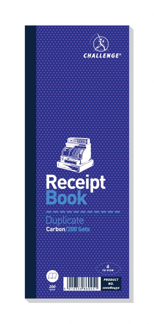 Challenge Duplicate Book Carbon Receipt Book 4 Sets per Page 200 Sets 241x92mm Ref 100080450 [Pack 10]
