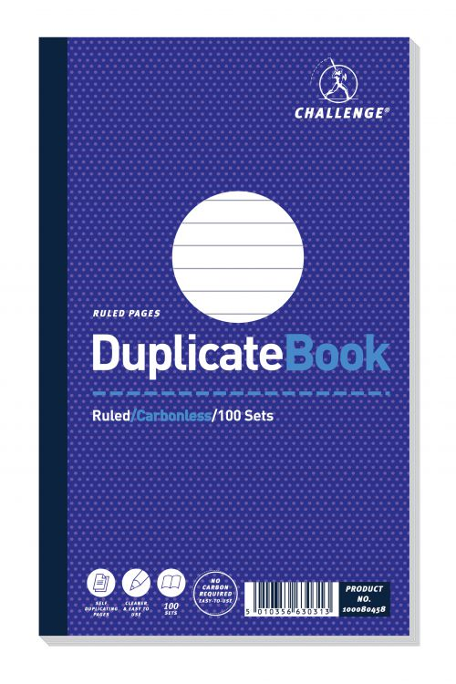 Challenge Carbonless Duplicate Book 100 Sets 210x130mm (Pack of 5) 100080458