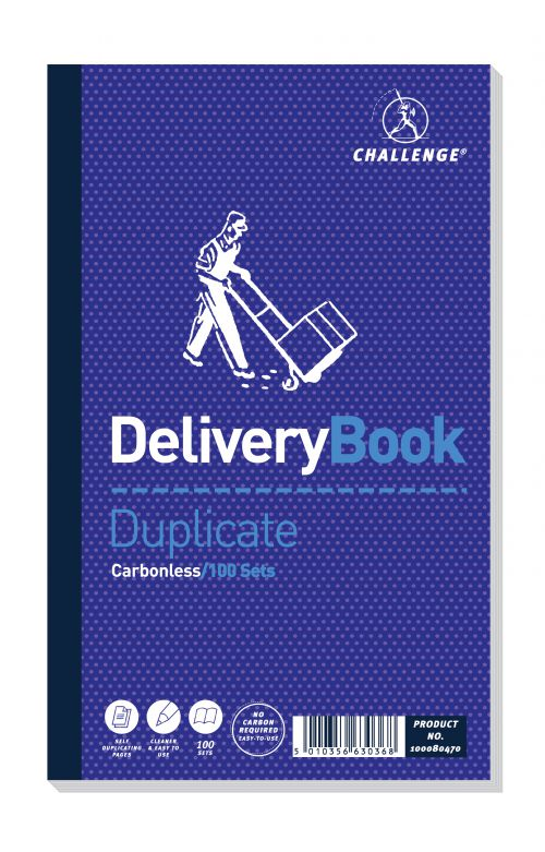 Challenge Carbonless Duplicate Delivery Book 100 Sets 210x130mm (Pack of 5) 100080470