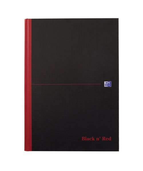 Black n Red Casebound Book A4 192pg Plain 100080489 [Pack 5]