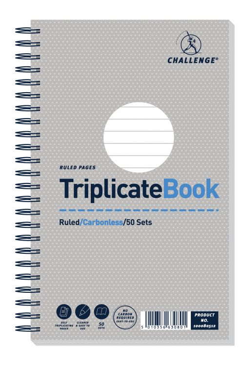 Challenge Ruled Carbonless Triplicate Book 216x130mm