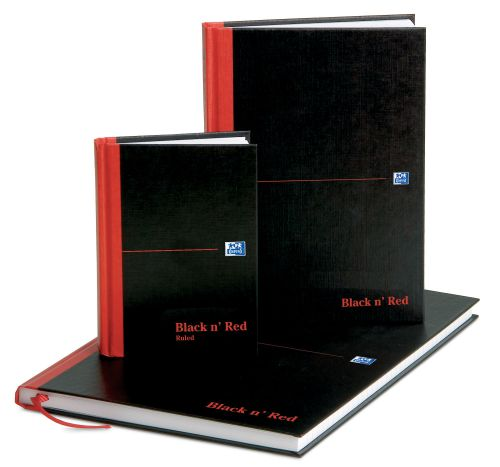 Black n Red Book Casebound 90gsm Double Cash 192pp A4 Ref 100080514 [Pack 5]