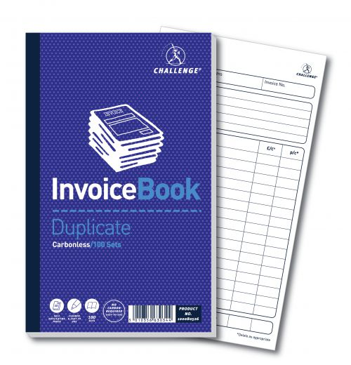 Challenge Carbonless Duplicate Invoice Book 100 Sets 210x130mm (Pack of 5) 100080526