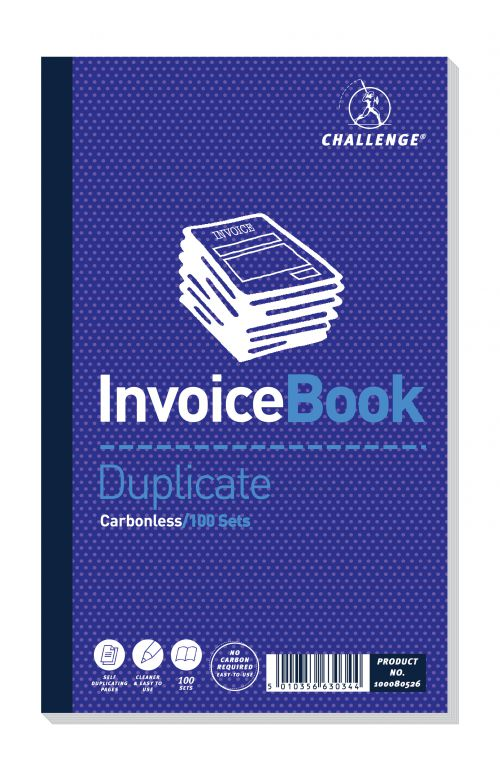 Challenge Duplicate Invoice Book 210x130mm Card Cover Without VAT 100 Sets Pack 5 100080526