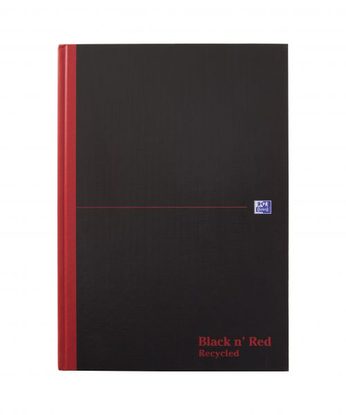 Black n Red Casebound Recycled Book A4 192pg Ruled 100080530 [Pack 5]