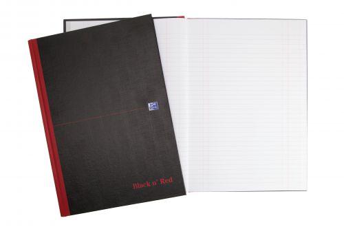 Black n Red Book Casebound 90gsm Single Cash 192pp A4 Ref 100080537 [Pack 5]