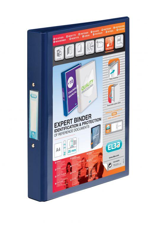 Elba Vision 2 Ring Binder Plastic Coated Board A4 Black 100080886