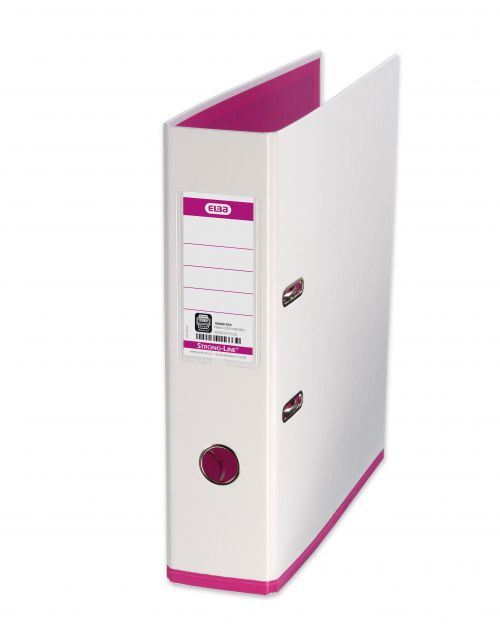 Oxford MyColour Lever Arch File Polypropylene Capacity 80mm A4Plus White & Pink Ref 100081031
