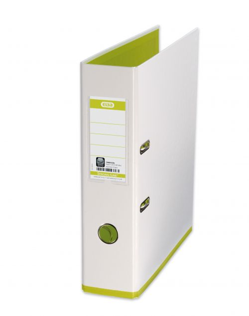 Oxford MyColour Lever Arch File Polypropylene Capacity 80mm A4Plus White & Lime Ref 100081032