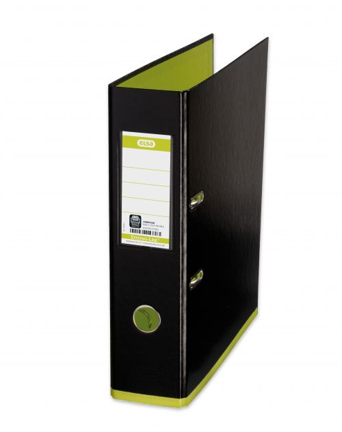 Oxford MyColour Lever Arch File Polypropylene Capacity 80mm A4+ Black & Lime Ref 100081036