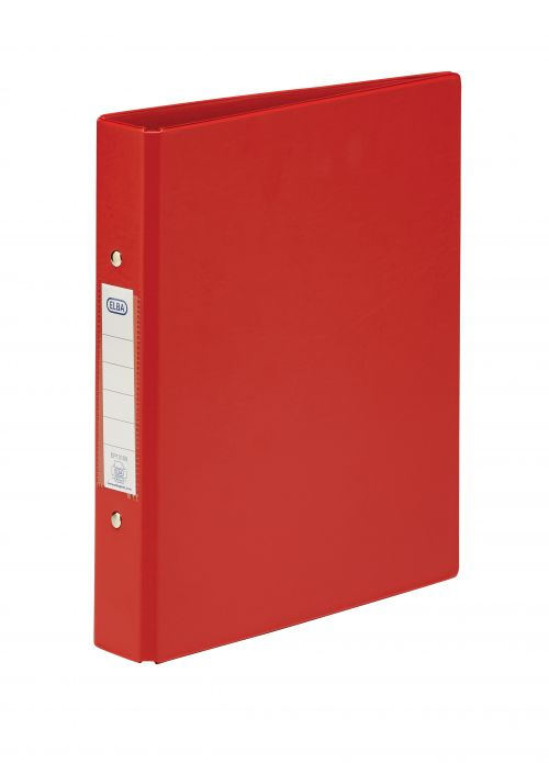 Elba A4 Board 2 O-Ring Binder Pack of 10 Red 25 mm Capacity 30 mm Spine