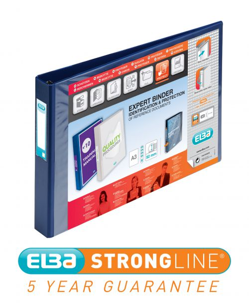 Elba Vision 30mm 4D-Ring Binder Oblong A3 Blue 100080865