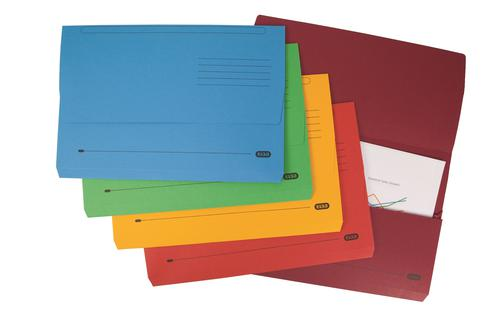 Elba Strongline Foolscap Bright Manilla Document Wallet Half Flap Heavyweight 320gsm 32mm Assorted Colours (Pack 25)