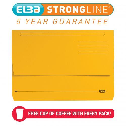 Elba Bright Manilla Foolscap Yellow Document Wallet 290gsm 100090141