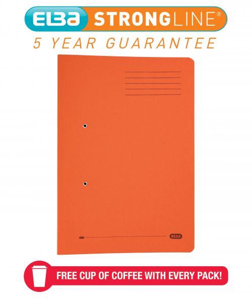 Elba Spring Pocket File 320gsm Foolscap Orange (Pack of 25) 100090148