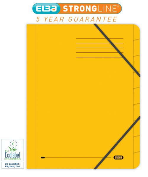 Elba Boston Part File 320gsm Manilla Elasticated 9-Part Foolscap Yellow Ref 100090175 [Pack 5]
