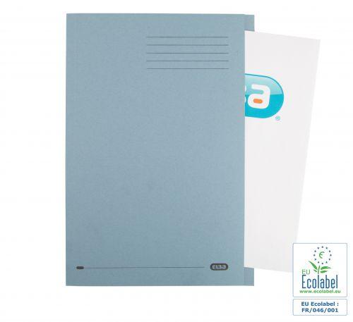 Elba Foolscap Square Cut Folder Recycled Mediumweight 285gsm Manilla Blue Ref 100090217 [Pack 100]