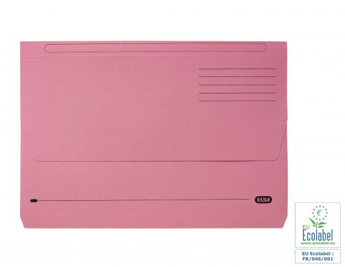 Elba Document Wallet Half Flap 285gsm Capacity 32mm Foolscap Pink Ref 100090242 [Pack 50]