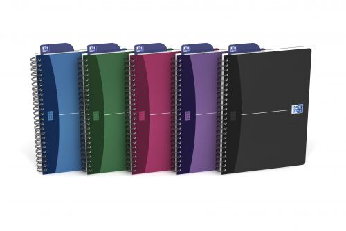 Oxford Poly Opaque Wirebound Notebook A5 Assorted (Pack of 5) 100101300