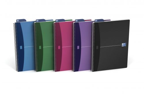 Oxford Poly Opaque Wirebound Notebook A4 Assorted (Pack of 5) 100101918
