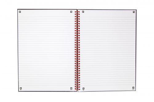 Black n Red Notebook Wirebound 90gsm Ruled 140pp A4 Glossy Black Ref 400115985 [Pack 5]