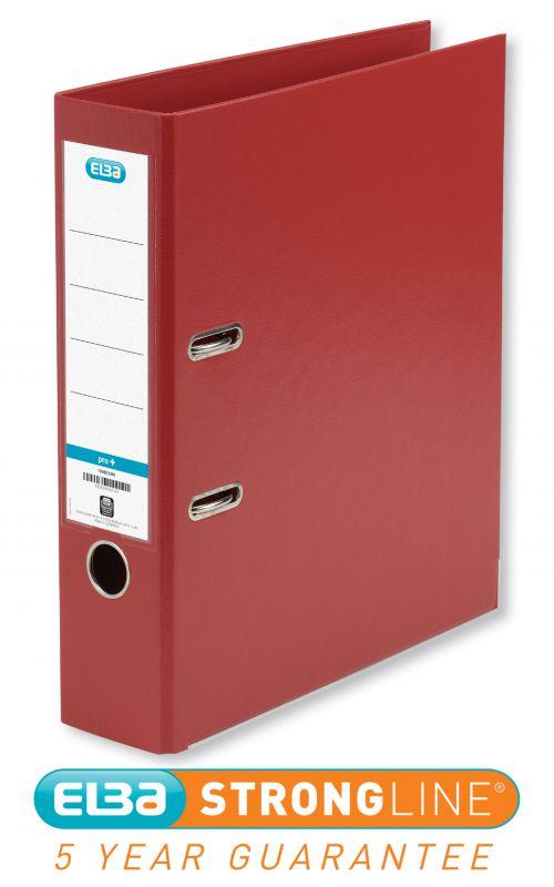 Elba Smart Pro+ Lever Arch File A4 80mm Spine Polypropylene Red  100202172