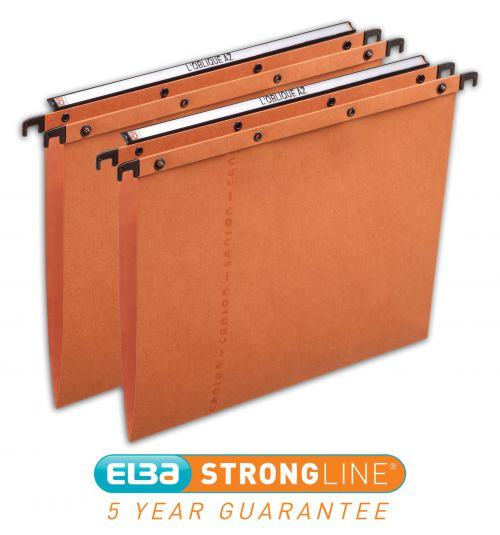 Elba AZO Ultimate Linking Suspension File 15mm V-Base 240gsm Foolscap Orange Ref 100330312 [Pack 25]