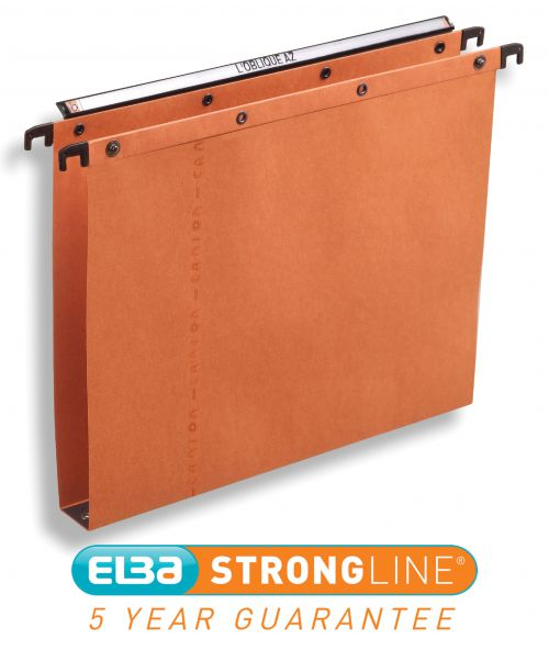 Elba AZO Ultimate Linking Suspension File 30mm Wide-base 240gsm Foolscap Orange Ref 100330314 [Pack 25]