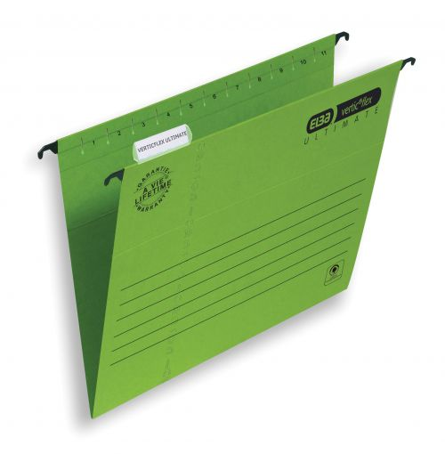 Elba Verticflex Ultimate Suspension File 15mm V-base 240gsm Foolscap Green Ref 100331170 [Pack 25]